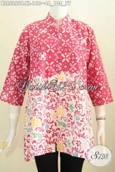 Blus Batik Merah Kerah Shanghai Halus Motif Trendy Proses Cap Kwalitas Istimewa Harga Terjangkau, Size XL