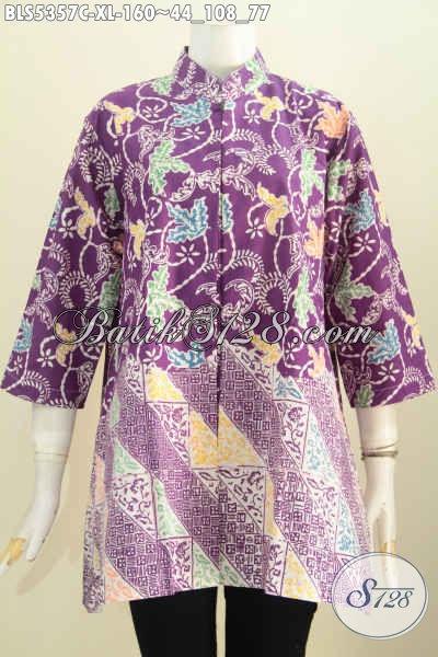 Batik Blus Warna Ungu Size XL, Baju Batik Istimewa Harga Biasa Model Kerah Shanghai Exclusive Buat Wanita Karir Dewasa [BLS5357C-XL]