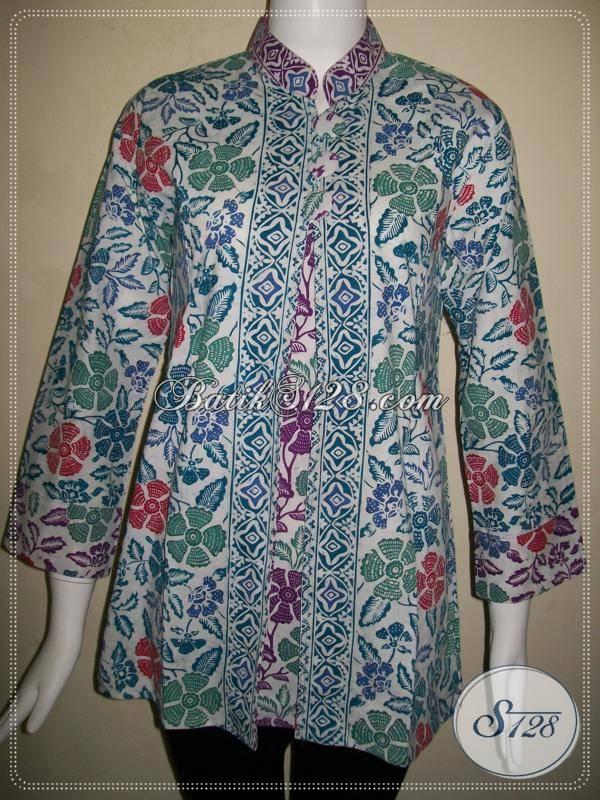 Baju BAtik Kerja Wanita BerjilbabBlus Batik Kerja Krah Shanghai