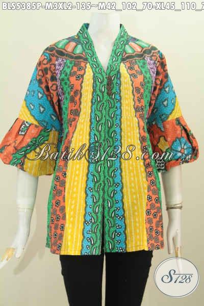 Produk Terbaru Busana Blus Dengan Kancing Banyak, Busana batik Wanita Model Kartini Berpadu Kombinasi Warna Keren Untuk Penampilan Lebih Stylish [BLS5385P-M]