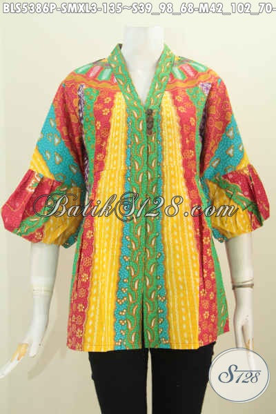 Batik Blus Elegan Dengan Kombinasi Warna Cerah Nan Modis, Baju Batik Kancing Banyak Desain Kartini Proses Printing Hanya 135K, Size XL