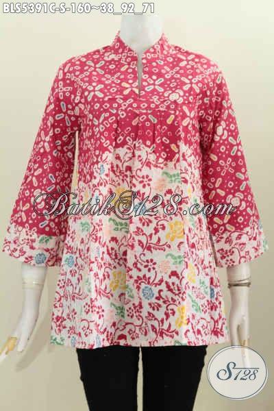 Blus Kerah Shanghai Dengan Motif Warna Trendy Berbahan Halus Proses Cap Spesial Untuk Wanita Muda [BLS5391C-S]