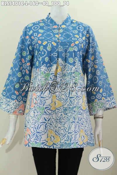 Jual Baju Blus Kerah Shanghai Eceran Harga Grosir, Busana Batik Halus Proses Cap Motif Kombinasi Untuk Tampil Modis Dan Keren [BLS5401C-L]