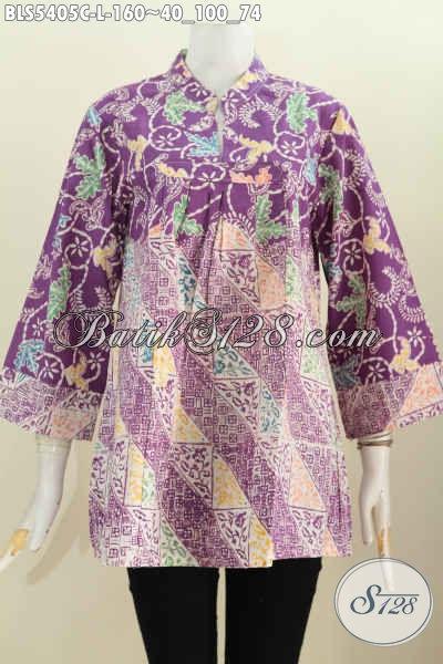Blus Batik Proses Cap Warna Ungu, Pakaian Batik Elegan Dan Keren Bahan Adem Proses Cap Desain Kerah Shanghai, Nyman Dan Modis Di Pakai Tiap Hari [BLS5405C-L]
