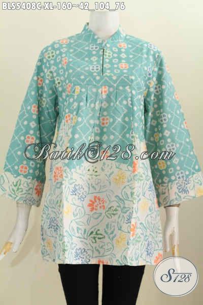 Sedia Pakaian Batik Halus Warna Kalem Bahan Adem Motif Trendy Proses Cap, Baju Blus Kerah Shanghai Untuk Penampilan Makin Menawan Dan Keren [BLS5408C-XL]