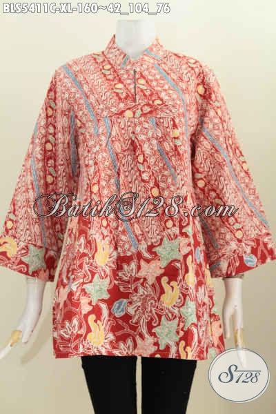 Batik Blus Kerah Shanghai Motif Trendy, Busana Batik Masa Kini Bautan Solo Penunjang Penampilan Lebih Kece, Size XL