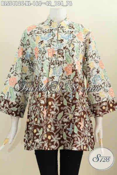 Baju Blus Batik Elegan Motif Mewah, Busana Batik Halus Nan Istimewa Trend Mode Terkini Model Kerah Shanghai Bahan Adem Untuk Penampilan Lebih Gaya Dan Modis [BLS5412C-XL]