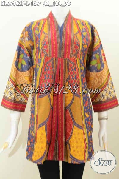 Baju Blus Bati Keren Dan Modern, Pakaian Batik Halus Proses Printing Model Tanpa Kerah Cocok Untuk Seragam Kerja Dan Rapat [BLS5462P-L]