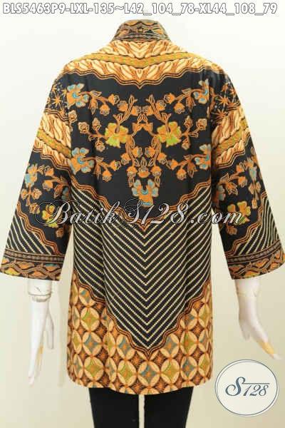Baju Batik Klasik Tanpa Kerah, Pakaian Batik Elegan Motif Sinaran Bahan Halus Proses Printing Spesial Buat Wanita Karir Tampil Gaya, Size L