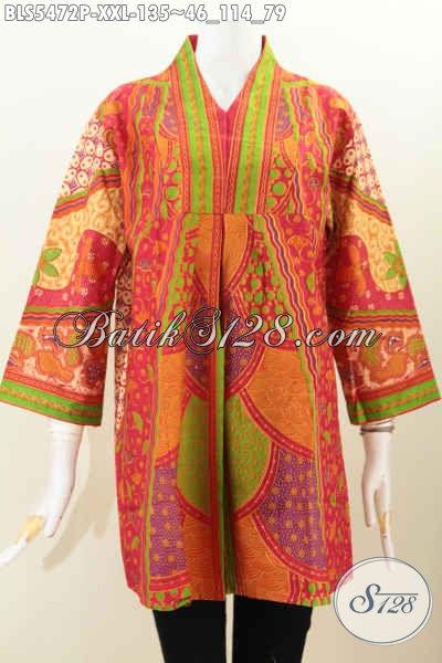 Blus Batik Spesial Untuk Wanita Gemuk, Baju Batik Printing Tanpa Krah Motif Sinaran Menunjang Penampilan Lebih Modis, Size XXL