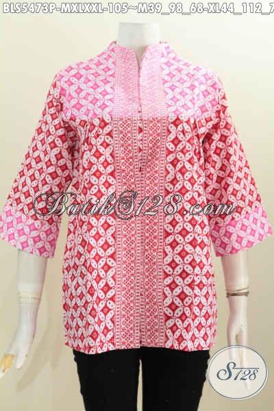 Busana Batik Atasan Model Kerah Langsung, Baju Blus Warna cerah Motif Kawung Proses Printing Bahan Halus Untuk Penampilan Lebih Bergaya [BLS5473P-XXL]