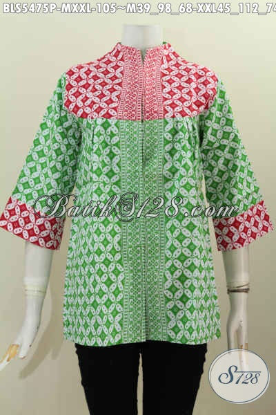 Pakaian Batik Keren Dan Gaya, Blus Batik Masa Kini Proses Printing Model Kerah Langsung Harga 105K, Size XXL
