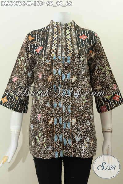 Baju Blus Desain Mewah Dengan Kerah Langsung, Baju Batik Istimewa Motif Bagus Proses Cap Harga 150K, Size M