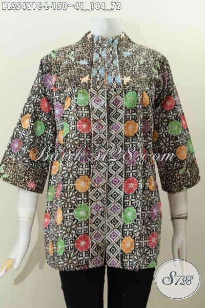 Pakaian Batik Solo Motif Paling Keren, Blus Batik Jawa Halus Proses Cap Model Kerah Langsung Wanita Tampil Lebih Anggun Dan Cantik, Size L