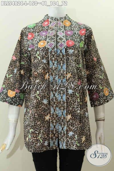 Baju Batik Kerja Wanita Karir, Pakaian Batik Blus Kerah Langsung Motif Terkini Proses Cap Cocok Juga Buat Ke Pesta [BLS5482C-L]