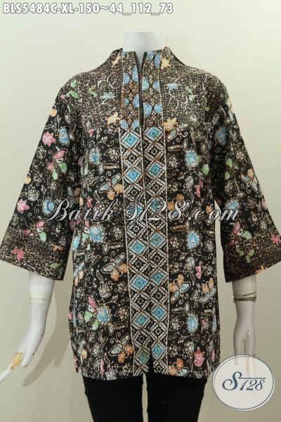 Jual Online Batik Blus Istimewa Dan Modern, Baju Batik Solo Bahan Adem Proses Cap Motif Mewah Model Kerah Langsung Untuk Tampil Cetar Membahana [BLS5484C-XL]