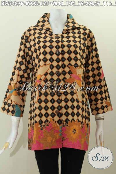 Baju Blus Kerah Kotak Modis, Pakaian Batik Jawa Halus Motif Terkini Proses Printing Harga 125K, Size M – XXL