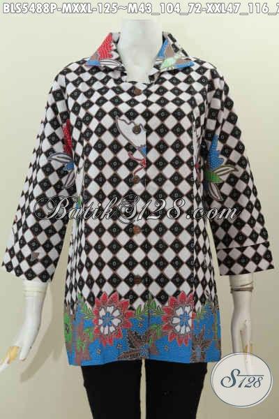 Baju Batik Elegan Untuk Wanita Kantoran, Busana Batik Halus Motif Berkelas Proses Printing Desain Kerah Kotak Untuk Kerja Tampil Istimewa [BLS5488P-XXL]