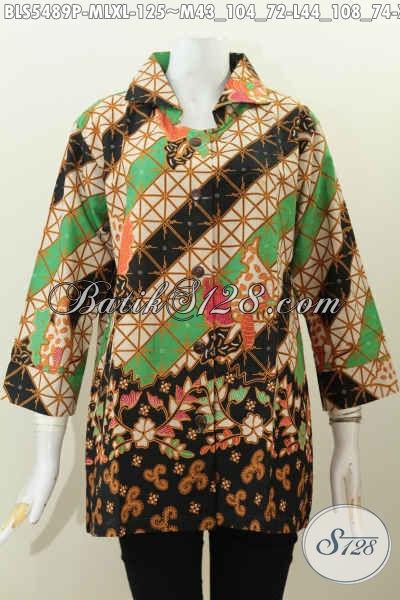 Jual Baju Batik Bagus Harga Murah, Pakaian Batik Wanita Muda Dan Dewasa Desain Kerah Kotak Proses Printing, Cocok Untuk Kerja Dan Acara Resmi [BLS5489P-M , L]