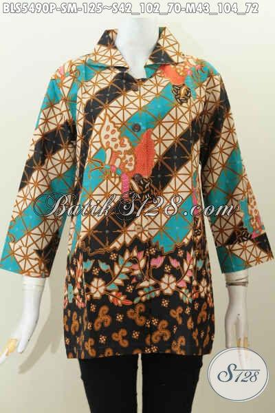 Sedia Aneka Busana Batik Wanita Muda, Baju Batik Halus Kerah Kotak Motif Trendy Bahan Halus Proses Printing Hanya 125K [BLS5490P-M]