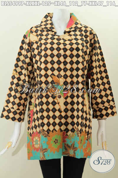 Baju Batik Size XL, Pakaian Batik Modern Motif Terkini Proses Printing Desain Kerah Kotak Untuk Tampil Modis