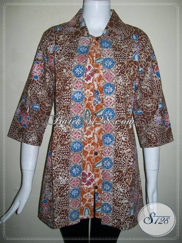 Baju BAtik Motif Bunga,Baju Batik Wanita Kombinasi Warna Coklat Dan Coklat Muda [BLS549C-L]