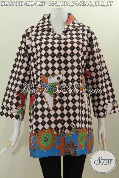 Produk Baju Kerja Wanita Karir, Hadir Dengan Desain Kerah Kotak Bahan Adem Motif Trendy Proses Printing Harga 125K, Size L