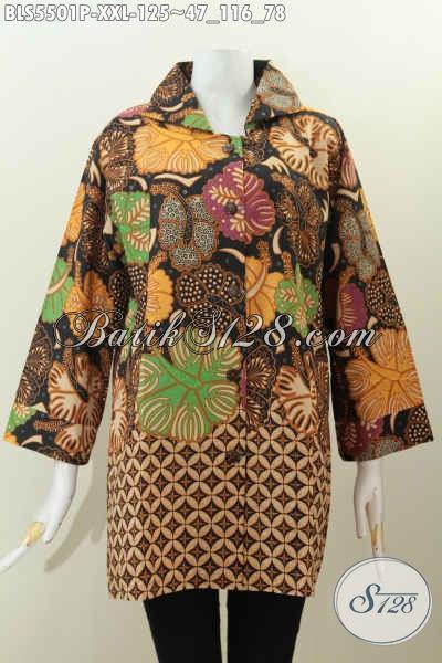 Baju Blus Batik Jumbo Model Kerah Kotak, Baju Batik Atasan Motif Terkini Proses Printing Harga 125 Ribu Wanita Gemuk Bisa Tampil Elegan Berkelas [BLS5501P-XXL]