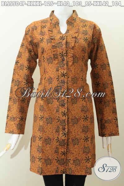 Baju Batik Klasik Model Lengan Panjang Berpadu Kerah Shanghai Nan Elegan, Baju Kerja Wanita Dewasa Untuk Tampil Berkelas, Berbahan Halus Proses Printing Hanya 125 Ribu [BLS5504P-XXL]