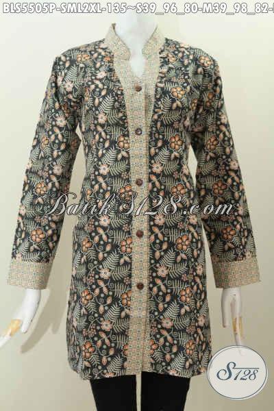 Jual Online Batik Blus Modern, Pakaian Batik Lengan Panjang Kerah Shanghai Bahan Adem Proses Printing Untuk Tampil Lebih Gaya, Size L