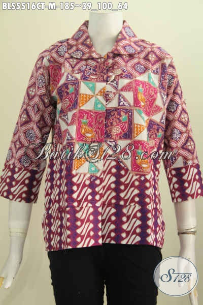Blus Batik Fashion Exclusive Buat Wanita Karir, Pakaian Batik Kerah Bulat Motif Mewah Proses Cap Tulis Untuk Penampilan Yang Mempesona [BLS5516CT-M]