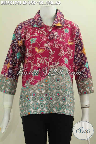 Batik Blus Motif Bunga Proses Cap Tulis, Busana Batik Berbahan Halus Model Kerah Bulat Kancing Besar Istimewa Buat Ke Kantor Dan Acara Resmi [BLS5517CT-M]