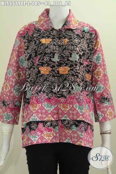 Pakaian Batik Motif Kombinasi, Busana Batik Kerah Bulat Kancing Besar Dengan Desain Istimewa Proses Cap Tulis Wanita Terlihat Berkharisma [BLS5519CT-L]