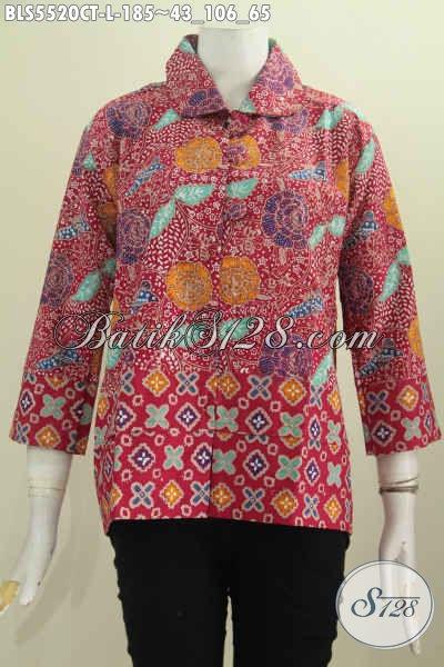 Jual Baju Blus Batik Kekinian, Pakaian Batik Kerah Bulat Kancing Besar Motif Bunga Dengan Saar Merah Proses Cap Tulis, Cocok Buat Acara Resmi [BLS5520CT-L]