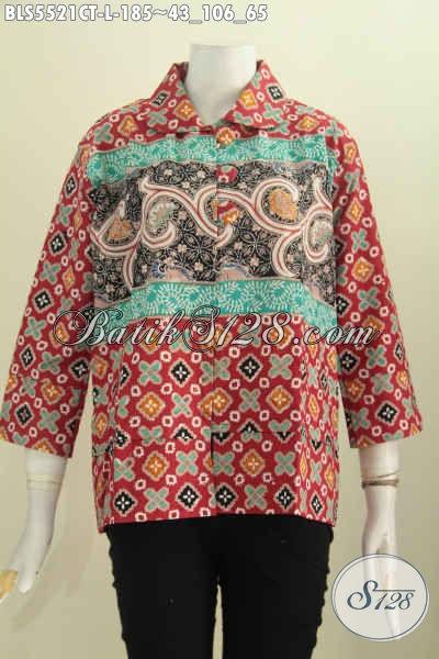 Toko Batik Online, Jual Busana Batik Istimewa Model Blus Kerah Bulat Kancing Besar Size L, Pakaian Batik Trend Masa Kini Buat Wanita Kantoran Tampil Gaya [BLS5521CT-L]