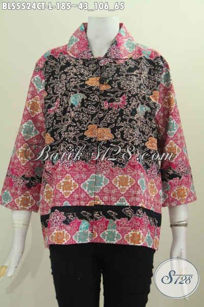Baju Batik Santai Cocok Untuk Jalan-Jalan, Pakaian Batik Modis Kerah Bula Buatan Solo Harga 180 Ribuan, Size L