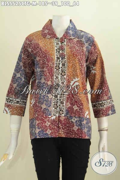 Baju Blus Terbaru Dengan Bahan Batik Cap Tulis Soga, Busana Batik Istimewa Motif Bagus Kwalitas Halus Model kerah Bulat Kancing Besar [BLS5525CTG-M]