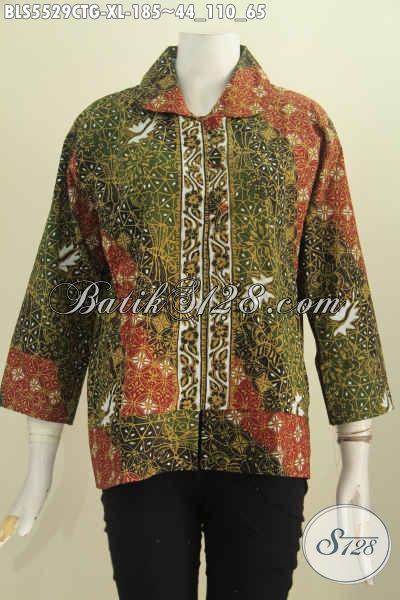 Baju Batik Wanita Dewasa, Blus Batik Kerah Bulat Size XL Bahan Adem Motif Mewah Proses Cap Tulis Soga Hanya 185 Ribu, Size XL