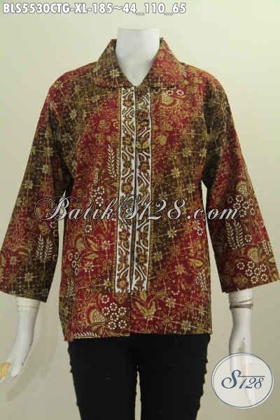 Sedia Pakaian Batik Nan Modis, Baju Blus Kerah Bulat Kwalitas Bagus Bahan Adem Motif Mewah Proses Cap Tulis Soga Harga 185 Ribu [BLS5530CTG-XL]