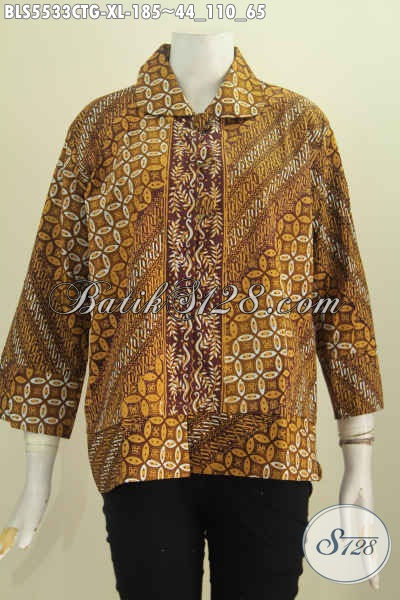 Blus Batik Motif Klasik Proses Cap Tulis Soga Dengan Warna ELegan, Baju Batik Wanita Dewasa Kerah Bulat Kancing Besar Pas Buat Kondangan Dan Kerja Kantoran [BLS5533CTG-XL]