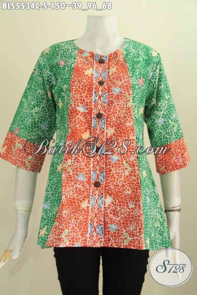 Blus Batik Santai Dan Seragam Kerja, Baju Batik Modis Desain Tanpa Kerah Berpadu Kombinasi Dua Warna Motif Trendy Proses Cap Tampil Makin Modis [BLS5534C-S]