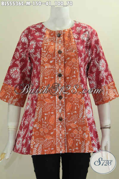 Jual Baju Blus Batik Dua Warna, Produk Pakaian Batik Modis Dan Halus Desain Tanpa Kerah Untuk Kerja Dan Hangout [BLS5536C-M]