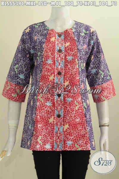 Juragan Baju Batik Online, Sedia Blus Tanpa Kerah Dengan Dual Warna, Pakaian Batik Modern Motif Bagus Proses Cap Tampil Gaya Dengan 150K [BLS5539C-XL]