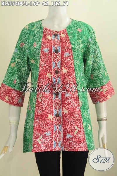 Baju Blus Ukuran L Kombinasi Warna Hijau Merah Nan Modis, Busana Batik Tanpa Kerah Motif Terbaru Proses Cap Cocok Buat Kerja Kantoran [BLS5540C-L]