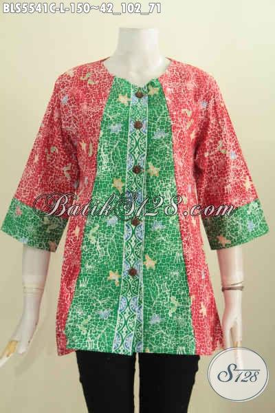 Batik Blus Dua Warna, Baju Batik Halus Nan Istimewa Model Tanpa Kerah Bahan Adem Proses Cap Harga 150 Ribu [BLS5541C-L]