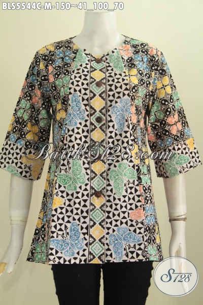 Busana Batik Santai Wanita Size M, Baju Batik Tanpa Kerah Motif Terkini Asli Buatan Solo Proses Cap Kombinasi Dua Warna [BLS5544C-M]