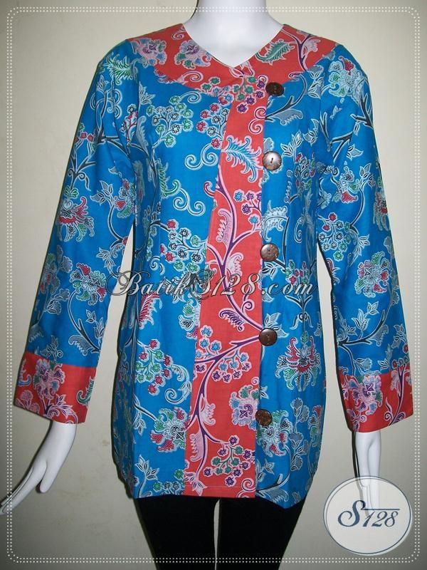 Baju Batik Warna Biru Motif Floral Blus Batik Wanita