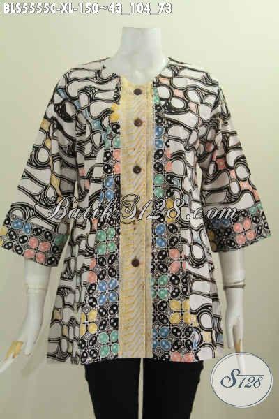 Baju Blus Dual Warna Motif Kombinasi, Pakaian Batik Model Tanpa Kerah Deain Istimewa Proses Cap Tampil Cantik Dan Stylish [BLS5555C-XL]