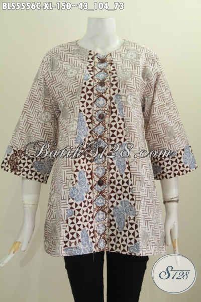 Baju Blus Batik Ukuran XL, Pakaian Batik Solo Khas Wanita Karir Model Tanpa Krah Untuk Tampil Lebih Gaya Proses Cap Dual Warna