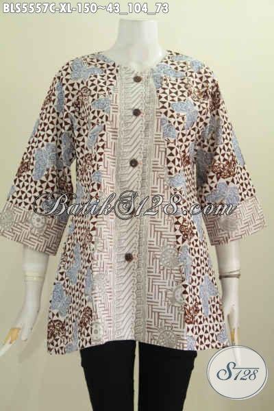 Pusat Update Fashion Batik, Jual Online Blus Tanpa Kerah Motif Mewah Proses Cap Harga 150K Size XL [BLS5557C-XL]